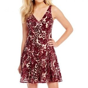 NWT Red Rose Wine Sequin Flare Cocktail Midi Dress